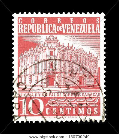VENEZUELA - CIRCA 1958 : Cancelled postage stamp printed by Venezuela, that shows Main Post Office in Caracas.