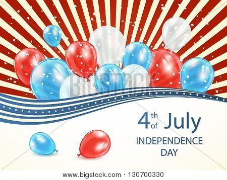 Abstract Independence day background with lines, stars and colored balloons, USA Independence day theme 4 of july, illustration.