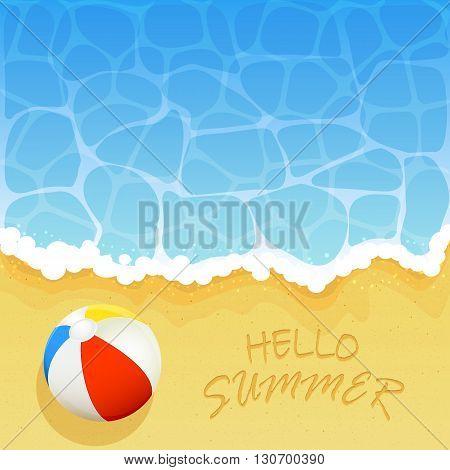 Ocean wave on a sandy beach with colored beach ball and inscription Hello Summer, Summer vacation on the beach, illustration.