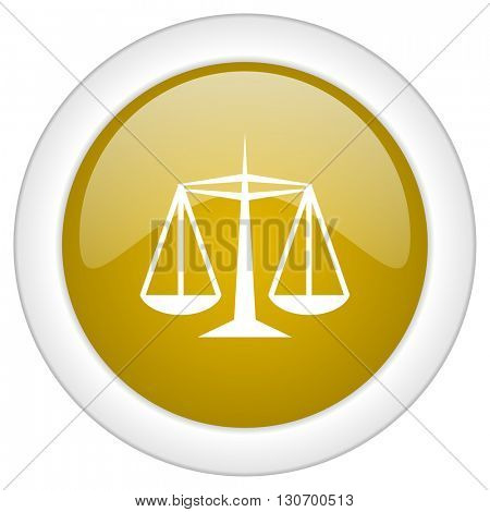 justice icon, golden round glossy button, web and mobile app design illustration