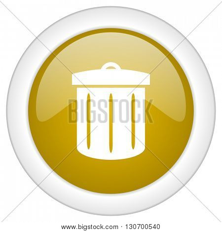 recycle icon, golden round glossy button, web and mobile app design illustration