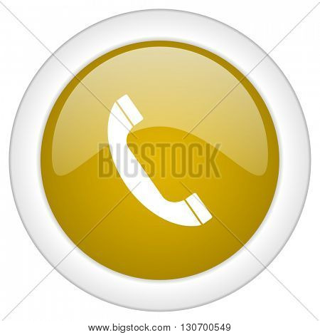 phone icon, golden round glossy button, web and mobile app design illustration