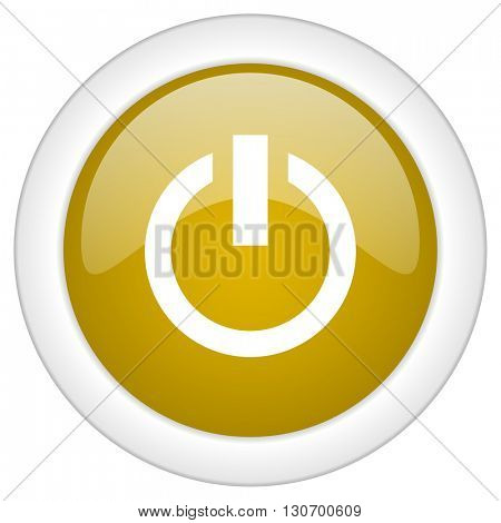 power icon, golden round glossy button, web and mobile app design illustration