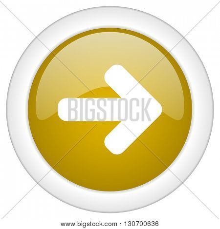 right arrow icon, golden round glossy button, web and mobile app design illustration