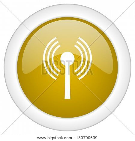 wifi icon, golden round glossy button, web and mobile app design illustration