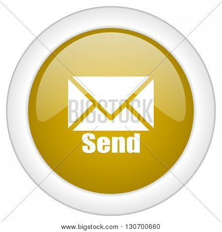 send icon, golden round glossy button, web and mobile app design illustration