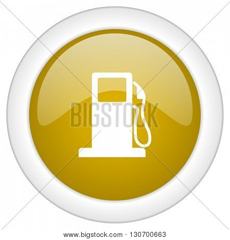 petrol icon, golden round glossy button, web and mobile app design illustration