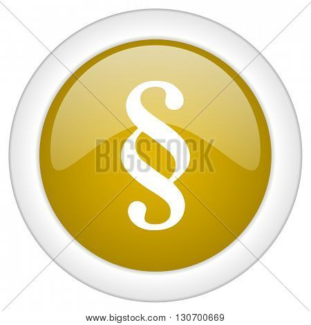paragraph icon, golden round glossy button, web and mobile app design illustration