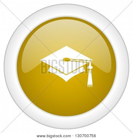 education icon, golden round glossy button, web and mobile app design illustration