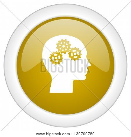 head icon, golden round glossy button, web and mobile app design illustration