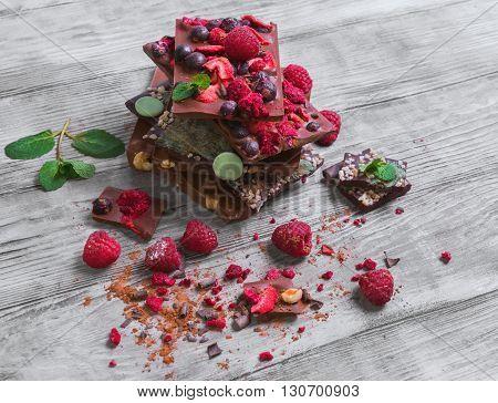 Tiles Of A Broken Exquisite Hand-made Chocolate