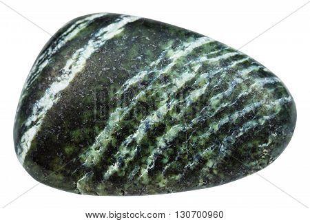 Tumbled Gemstone Of Chrysotile Isolated On White