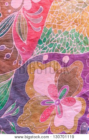 Abstract Floral Pattern On Pink And Purple Batik
