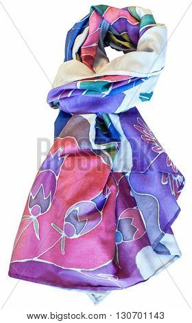 Knotted Handmade Batik Silk Blue And Pink Scarf