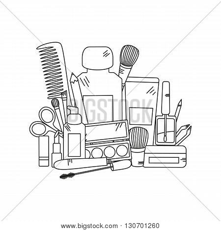 Cosmetics and fashion background with make up artist objects - lipstick, cream, brush. Vector illustration.