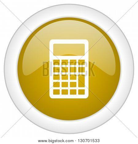 calculator icon, golden round glossy button, web and mobile app design illustration