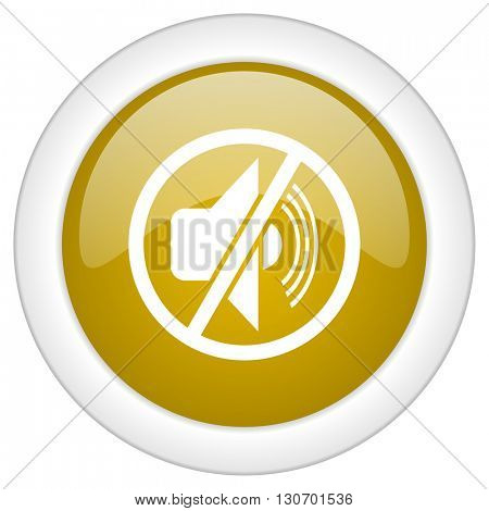 mute icon, golden round glossy button, web and mobile app design illustration
