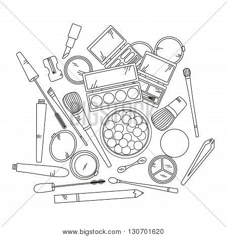 Cosmetics and fashion background with make up artist objects - lipstick, eyeshadow, brush, powder and other.  Vector illustration.