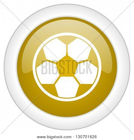 soccer icon, golden round glossy button, web and mobile app design illustration
