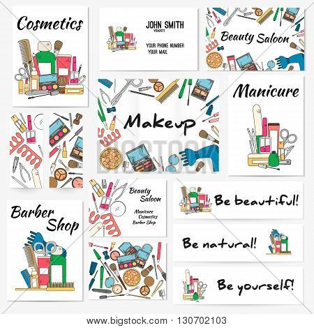 Set of banners, posters and business card with make up artist objects - lipstick, cream, brush. Cosmetics and fashion background. Vector illustration in bright color..