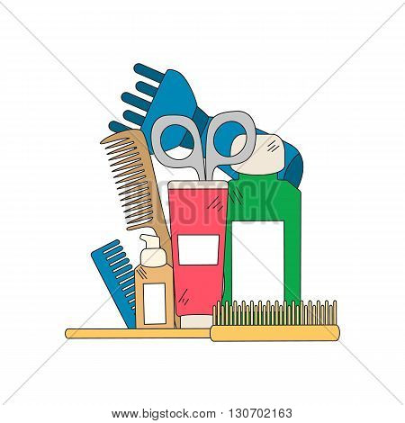 Beauty background with barber shop tools - hair dryer, comb, scissors and other tools for hair care. Vector illustration in bright color..