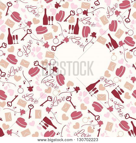 Seamless pattern for valentine's day or wedding day with bottle glasses rose key letter ring heart etc
