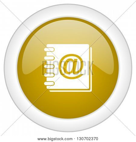 address book icon, golden round glossy button, web and mobile app design illustration