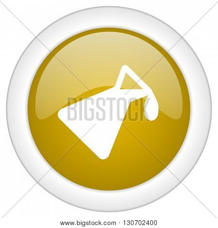 chemistry icon, golden round glossy button, web and mobile app design illustration