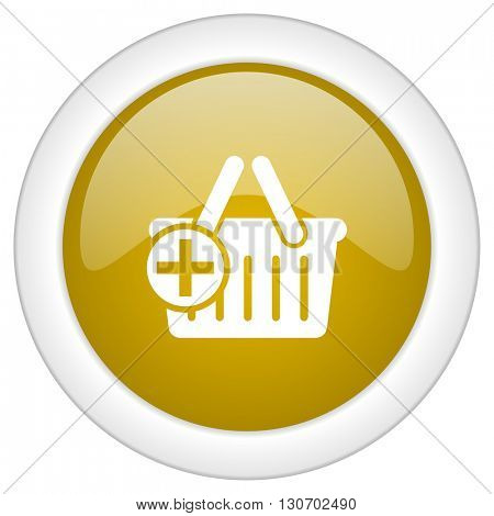 cart icon, golden round glossy button, web and mobile app design illustration