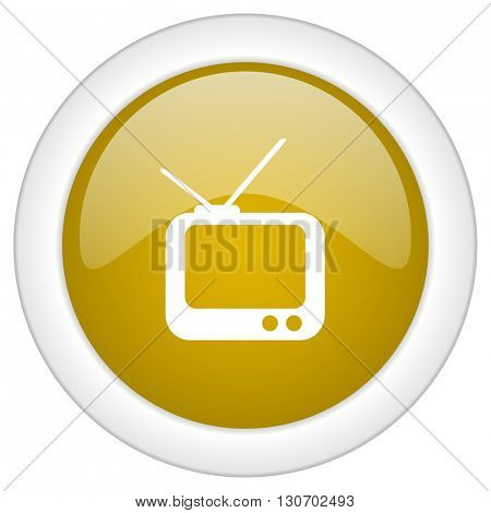 tv icon, golden round glossy button, web and mobile app design illustration