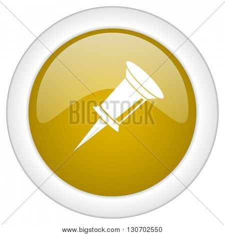 pin icon, golden round glossy button, web and mobile app design illustration