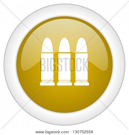 ammunition icon, golden round glossy button, web and mobile app design illustration