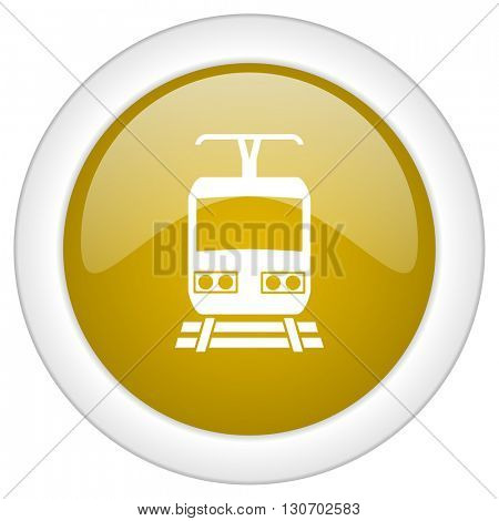train icon, golden round glossy button, web and mobile app design illustration