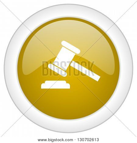 auction icon, golden round glossy button, web and mobile app design illustration