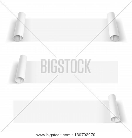 Set of White Paper Stickers isolated on a White Background