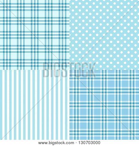 Vector set of 4 blue patterns. Striped plaid spotted . It's a boy. Good for Baby Shower Birthday Scrapbook Greeting Cards Gift Wrap surface textures.