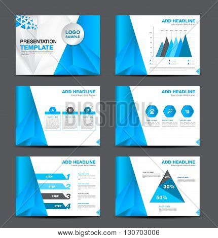 Blue multipurpose presentation template flat design set for brochure flyer marketing and advertising polygon background Infographic Element Business infographic Layout design
