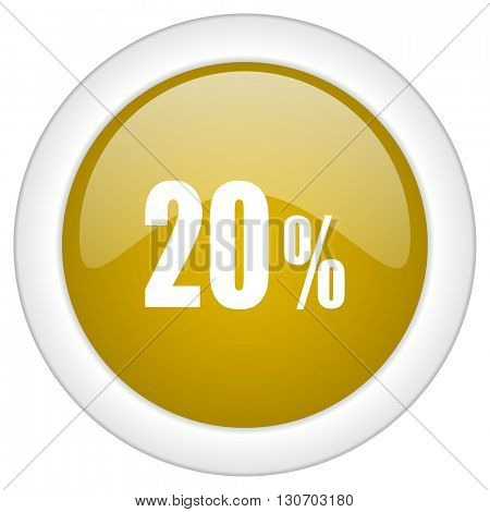 20 percent icon, golden round glossy button, web and mobile app design illustration