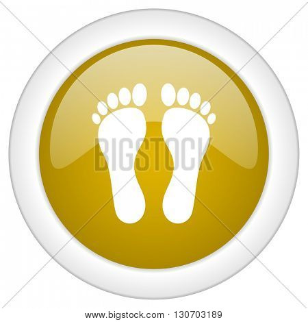 foot icon, golden round glossy button, web and mobile app design illustration