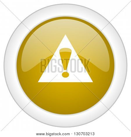 exclamation sign icon, golden round glossy button, web and mobile app design illustration