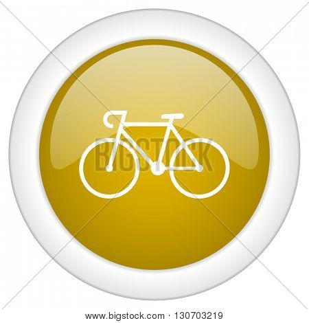 bicycle icon, golden round glossy button, web and mobile app design illustration