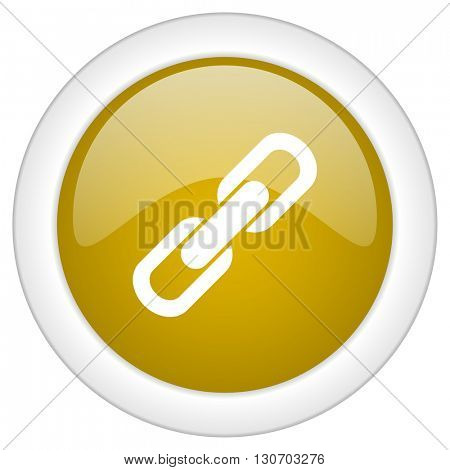link icon, golden round glossy button, web and mobile app design illustration