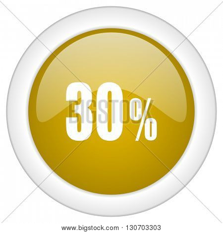 30 percent icon, golden round glossy button, web and mobile app design illustration