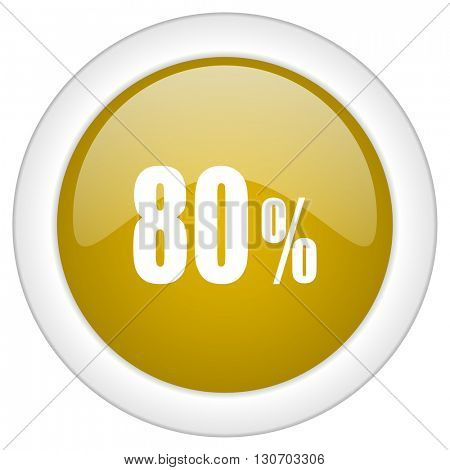 80 percent icon, golden round glossy button, web and mobile app design illustration