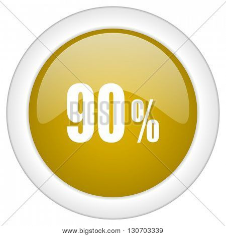 90 percent icon, golden round glossy button, web and mobile app design illustration