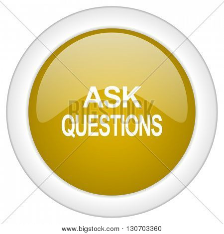 ask questions icon, golden round glossy button, web and mobile app design illustration