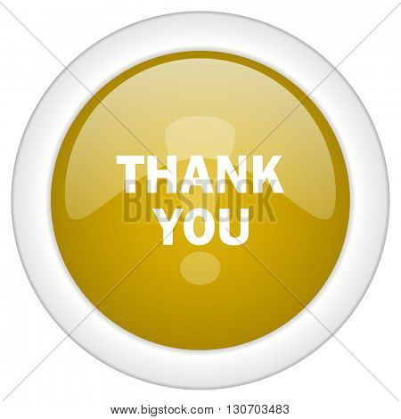 thank you icon, golden round glossy button, web and mobile app design illustration