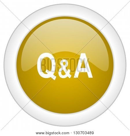 question answer icon, golden round glossy button, web and mobile app design illustration