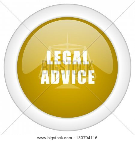 legal advice icon, golden round glossy button, web and mobile app design illustration