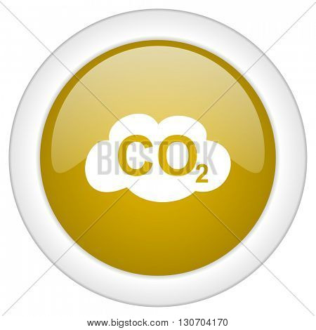 carbon dioxide icon, golden round glossy button, web and mobile app design illustration